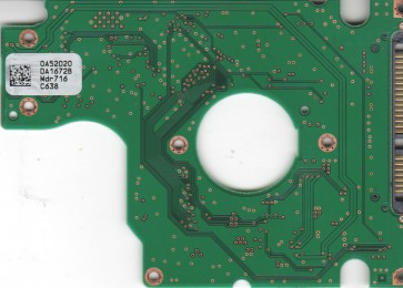 HTS541616J9SA00, 0A52020 DA1672B, PN 0A53005, Hitachi 160GB SATA 2.5 PCB