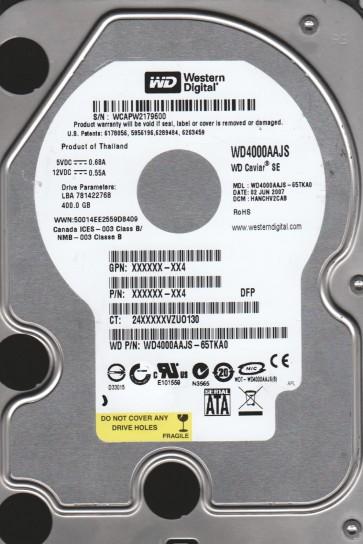 WD4000AAJS-65TKA0, DCM HANCHV2CAB, Western Digital 400GB SATA 3.5 Hard Drive