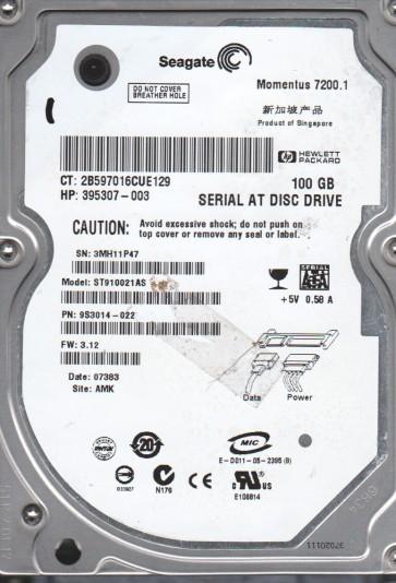ST910021AS, 3MH, AMK, PN 9S3014-022, FW 3.12, Seagate 100GB SATA 2.5 Hard Drive