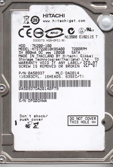 HTS722010K9SA00, PN 0A50937, MLC DA2014, Hitachi 100GB SATA 2.5 Hard Drive