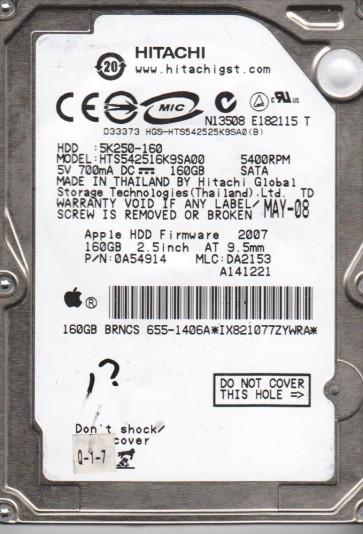 HTS542516K9SA00, PN 0A72030, MLC DA2834, Hitachi 160GB SATA 2.5 Hard Drive