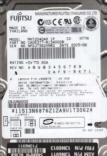 MHT2040AH 1P, PN CA06377-B134000B, Fujitsu 40GB IDE 2.5 Hard Drive