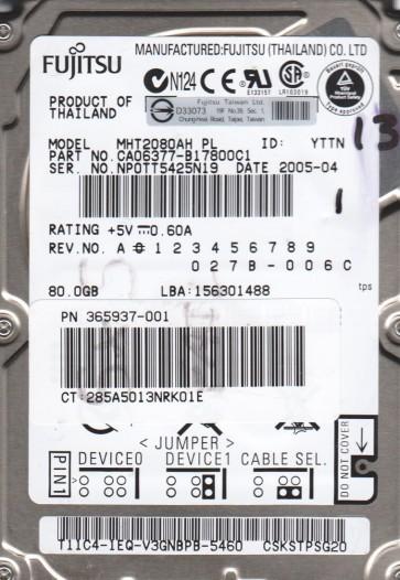 MHT2080AH PL, PN CA06377-B17800C1, Fujitsu 80GB IDE 2.5 Hard Drive