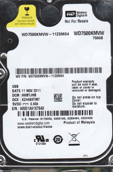 WD7500KMVW-11ZSMS4, DCM HHBTJHB, Western Digital 750GB USB 2.5 Hard Drive