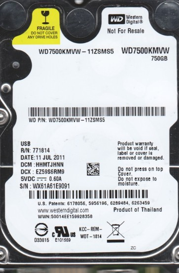 WD7500KMVW-11ZSMS5, DCM HHMTJHNN, Western Digital 750GB USB 2.5 Hard Drive