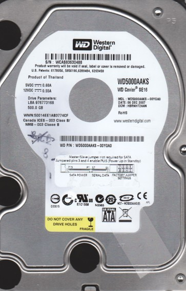 WD5000AAKS-00YGA0, DCM HBRNHT2AAN, Western Digital 500GB SATA 3.5 Hard Drive