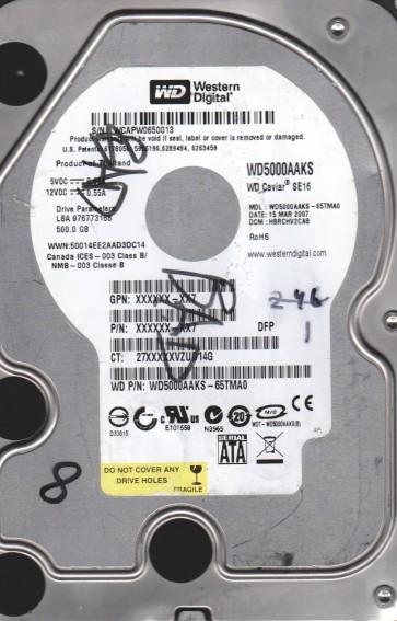 WD5000AAKS-65TMA0, DCM HBRCHV2CAB, Western Digital 500GB SATA 3.5 Hard Drive
