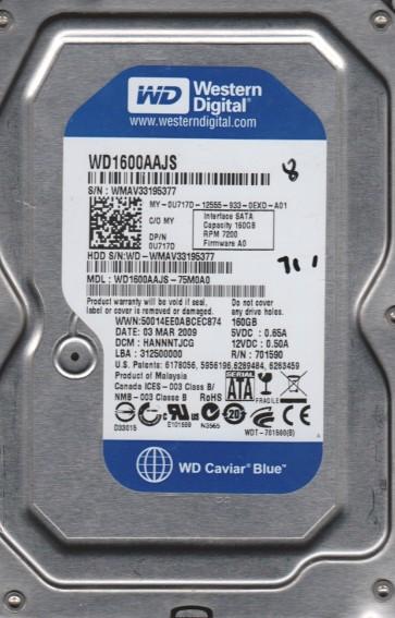 WD1600AAJS-75M0A0, DCM HANNNTJCG, Western Digital 160GB SATA 3.5 Hard Drive