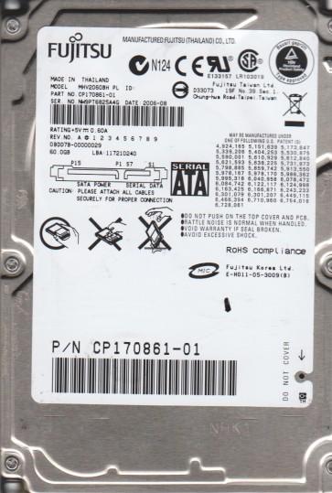 MHV2060BH PL, PN CP170861-01, Fujitsu 60GB SATA 2.5 Hard Drive