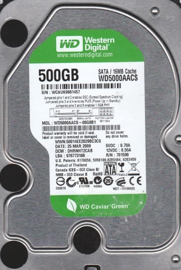 WD5000AACS-00G8B1, DCM DHRNHT2CAB, Western Digital 500GB SATA 3.5 Hard Drive