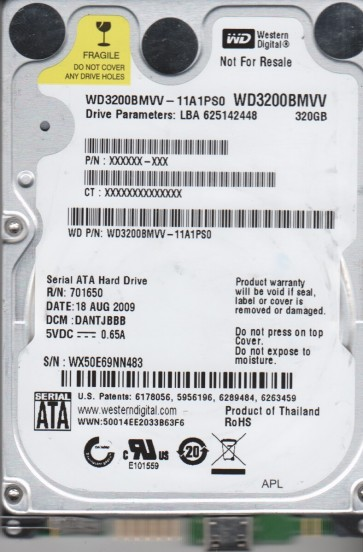 WD3200BMVV-11A1PS0, DCM DANTJBBB, Western Digital 320GB USB 2.5 Hard Drive