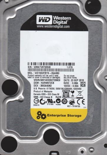 WD1002FBYS-05A6B0, DCM HARNNT2CB, Western Digital 1TB SATA 3.5 Hard Drive