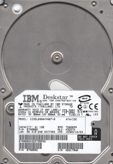 IC35L040AVVA07-0, PN 07N8082, MLC H32575, IBM 41.1GB IDE 3.5 Hard Drive