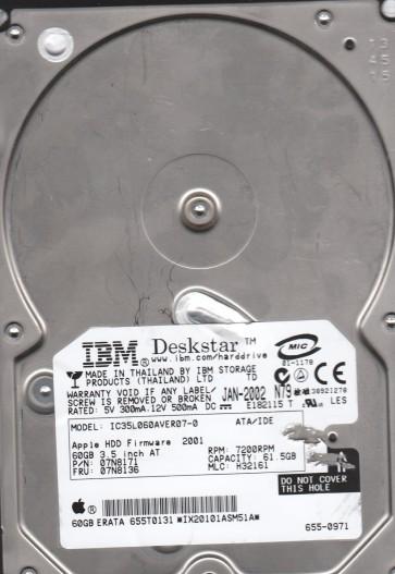 IC35L060AVER07-0, PN 07N8171, MLC H32161, IBM 61.5GB IDE 3.5 Hard Drive