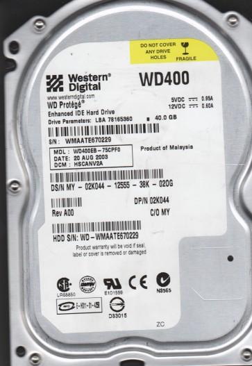 WD400EB-75CPF0, DCM HSCANV2A, Western Digital 40GB IDE 3.5 Hard Drive