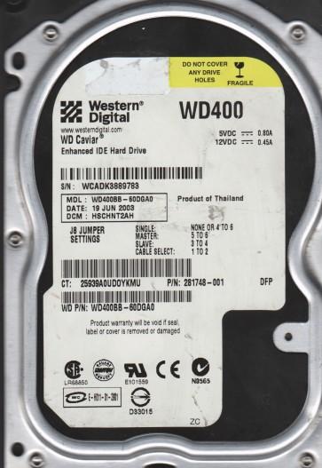 WD400BB-60DGA0, DCM HSCHNT2AH, Western Digital 40GB IDE 3.5 Hard Drive