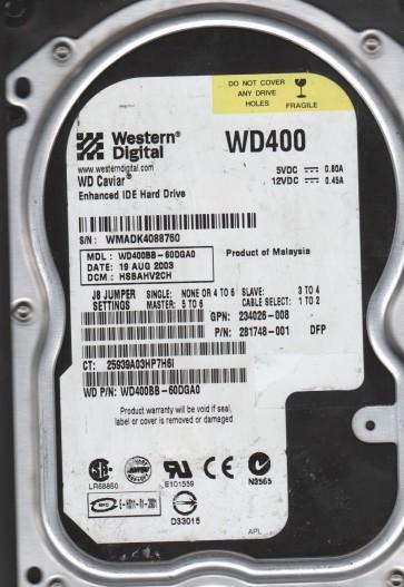 WD400BB-60DGA0, DCM HSBAHV2CH, Western Digital 40GB IDE 3.5 Hard Drive