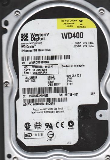 WD400BB-60DGA0, DCM DSBANA2AA, Western Digital 40GB IDE 3.5 Hard Drive