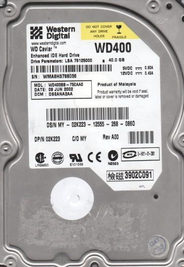 WD400BB-75CAA0, DCM DSEANA2AA, Western Digital 40GB IDE 3.5 Hard Drive