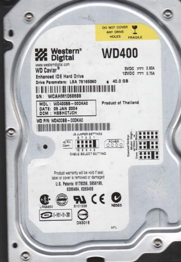 WD400BB-00DKA0, DCM HSBHCTJCH, Western Digital 40GB IDE 3.5 Hard Drive