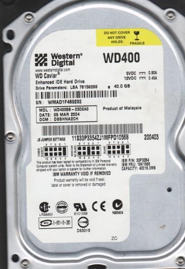 WD400BB-23DEA0, DCM DSBHNA2CH, Western Digital 40GB IDE 3.5 Hard Drive