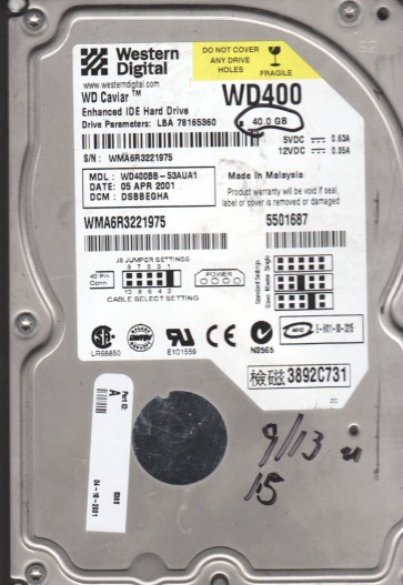 WD400BB-53AUA1, DCM DSBBEGHA, Western Digital 40GB IDE 3.5 Hard Drive