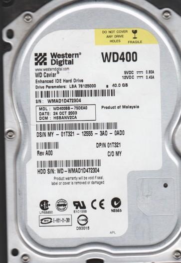 WD400BB-75DEA0, DCM HSBANV2CA, Western Digital 40GB IDE 3.5 Hard Drive