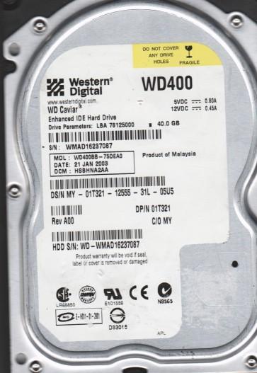 WD400BB-75DEA0, DCM HSBHNA2AA, Western Digital 40GB IDE 3.5 Hard Drive