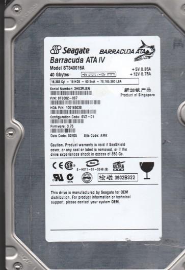 ST340016A, 3HS, AMK, PN 9T6002-087, FW 3.75, Seagate 40GB IDE 3.5 Hard Drive