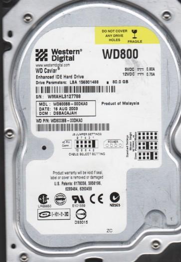 WD800BB-00DKA0, DCM DSBACAJAH, Western Digital 80GB IDE 3.5 Hard Drive