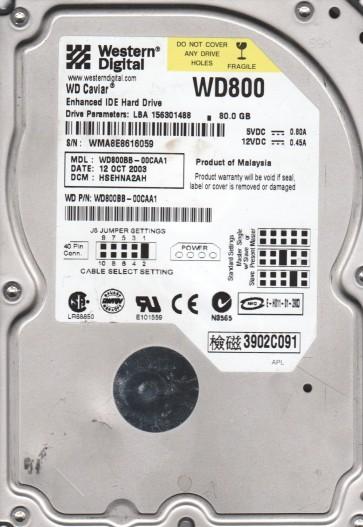 WD800BB-00CAA1, DCM HSEHNA2AH, Western Digital 80GB IDE 3.5 Hard Drive
