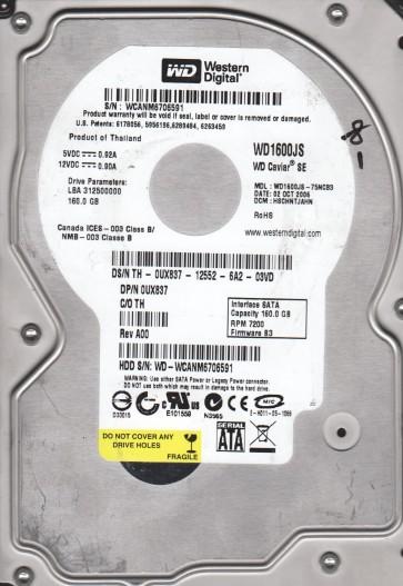 WD1600JS-75NCB3, DCM HSCHNTJAHN, Western Digital 160GB SATA 3.5 Hard Drive
