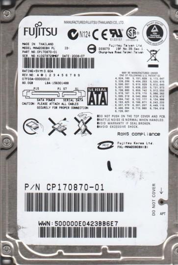 MHW2080BH PL, PN CP170870-01, Fujitsu 80GB SATA 2.5 Hard Drive