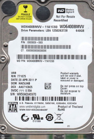 WD6400BMVV-11A1CS0, DCM HACVJHB, Western Digital 640GB USB 2.5 Hard Drive