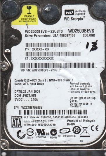 WD2500BEVS-22UST0, DCM FHCTJHN, Western Digital 250GB SATA 2.5 Hard Drive