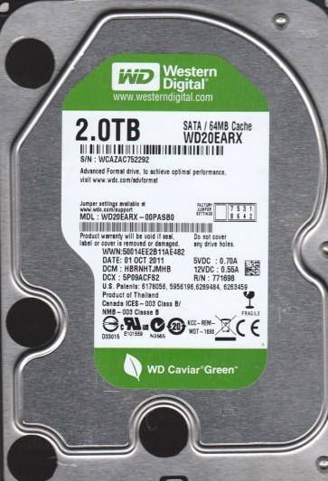 WD20EARX-00PASB0, DCM HBRNHTJMHB, Western Digital 2TB SATA 3.5 Hard Drive