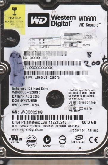 WD600UE-22HCT0, DCM HYNTJHNH, Western Digital 60GB IDE 2.5 BSectr HDD