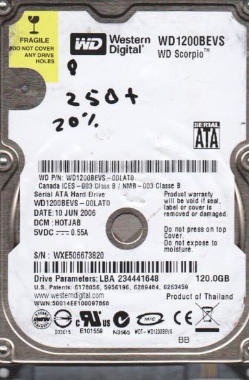 WD1200BEVS-00LAT0, DCM HOTJAB, Western Digital 120GB SATA 2.5 BSectr HDD