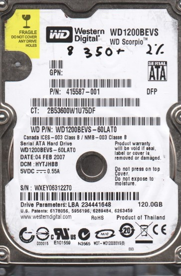 WD1200BEVS-60LAT0, DCM HYTJHBB, Western Digital 120GB SATA 2.5 BSectr HDD