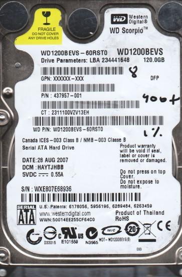 WD1200BEVS-60RST0, DCM HAYTJHBB, Western Digital 120GB SATA 2.5 BSectr HDD