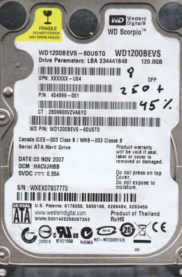 WD1200BEVS-60UST0, DCM HACVJHBB, Western Digital 120GB SATA 2.5 BSectr HDD