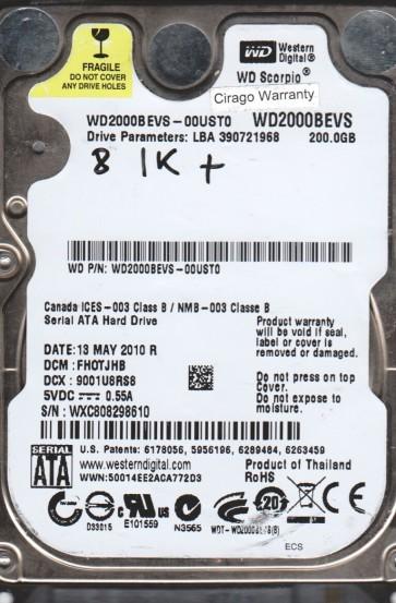 WD2000BEVS-00UST0, DCM FHOTJHB, Western Digital 200GB SATA 2.5 BSectr HDD