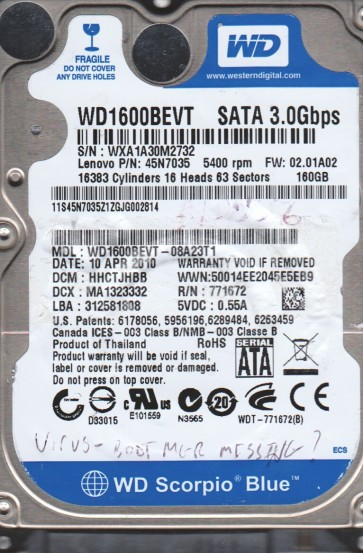 WD1600BEVT-08A23T1, DCM HHCTJHBB, Western Digital 160GB SATA 2.5 BSectr HDD