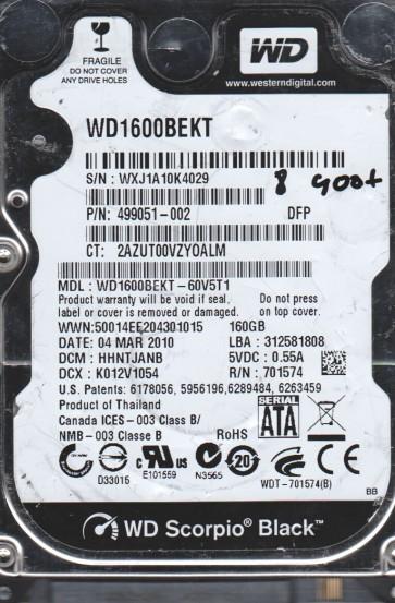 WD1600BEKT-60V5T1, DCM HHNTJANB, Western Digital 160GB SATA 2.5 BSectr HDD