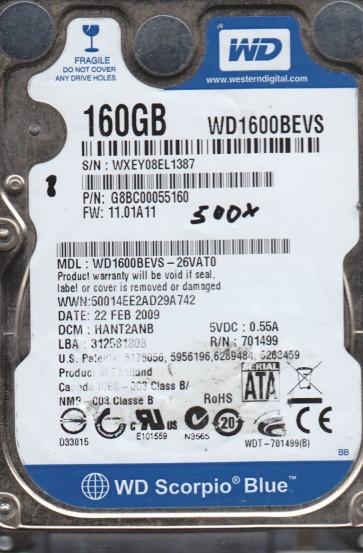 WD1600BEVS-26VAT0, DCM HANT2ANB, Western Digital 160GB SATA 2.5 BSectr HDD