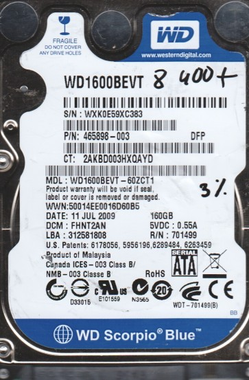 WD1600BEVT-60ZCT1, DCM FHNT2AN, Western Digital 160GB SATA 2.5 BSectr HDD