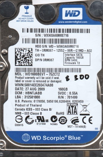 WD1600BEVT-75ZCT2, DCM HBNTJABB, Western Digital 160GB SATA 2.5 BSectr HDD