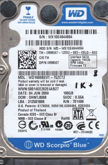 WD1600BEVT-75ZCT2, DCM DHNTJBBB, Western Digital 160GB SATA 2.5 BSectr HDD