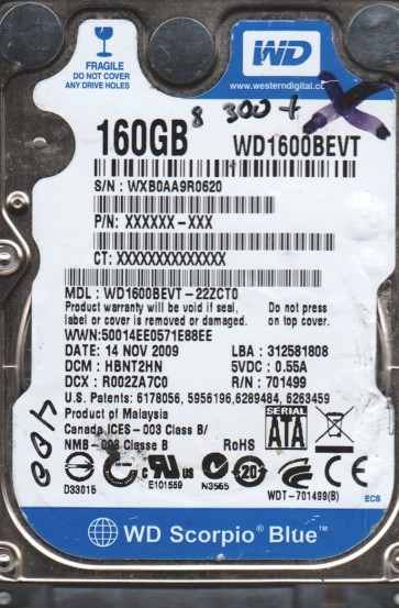 WD1600BEVT-22ZCT0, DCM HBNT2HN, Western Digital 160GB SATA 2.5 BSectr HDD