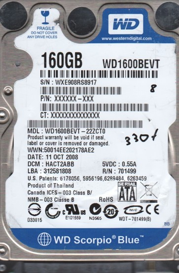 WD1600BEVT-22ZCT0, DCM HACT2ABB, Western Digital 160GB SATA 2.5 BSectr HDD